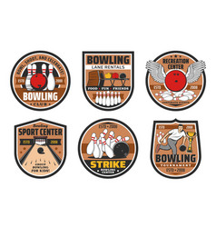 bowling alley skittle ground sport center icons vector image