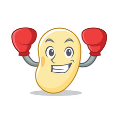 Boxing soy bean character cartoon vector