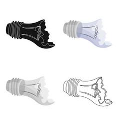 broken lightbulb icon in cartoon style isolated on vector image