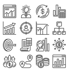 business plan and planning icons set vector image