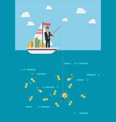 businessman with idea fishing money vector image