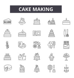 cake making line icons for web and mobile design vector image