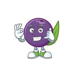 Call me acai berries character for fresh fruit vector