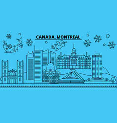 Canada montreal winter holidays skyline merry vector