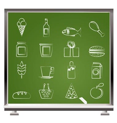 Chalk food and drink icons vector