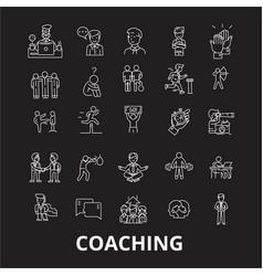coaching editable line icons set on black vector image