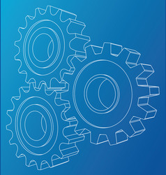 Cogs and gears rendering of 3d wire-frame vector