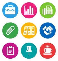 Color business icons vector