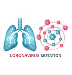 coronavirus mutation sign evolution virus lungs vector image