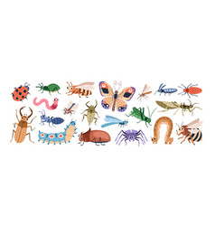 cute cartoon insect characters set funny happy vector image