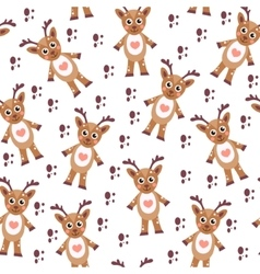 Cute cartoon reindeer seamless texture Children s vector image