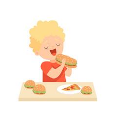 cute happy boy eating burger kid enjoying eating vector image