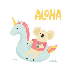 cute koala character swimming on toy unicorn vector image
