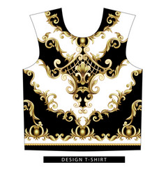 design scarf with golden baroque elements vector image