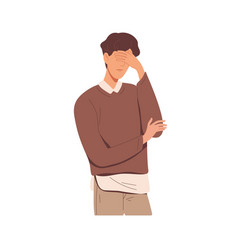 Disappointed man with facepalm gesture feeling vector