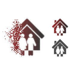 Disintegrating dotted halftone property icon vector