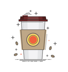 Disposable coffee cup icon with coffee beans vector