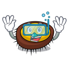 Diving sea urchin character cartoon vector