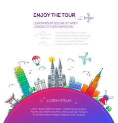enjoy tour - flat design travel composition vector image