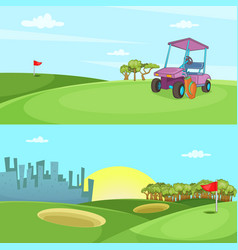 field of golf banner set horizontal cartoon style vector image