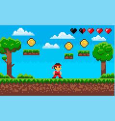 Fighting game pixel character on scene arcade vector