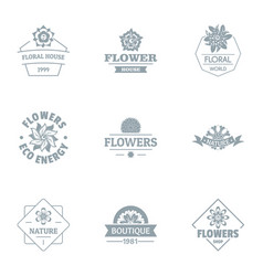 Flower meadow logo set simple style vector
