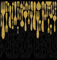 Gold glitter cutlery element set background vector
