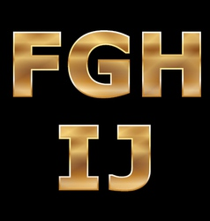 Gold Letters Set F-J vector image