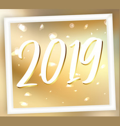 golden 2019 new year abstract background vector image