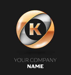 golden letter k logo in the silver-golden circle vector image