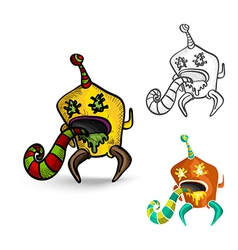 Halloween monsters spooky isolated freaks set vector