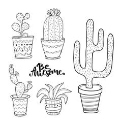 Hand drawn succulent and cactus set doodle plants vector
