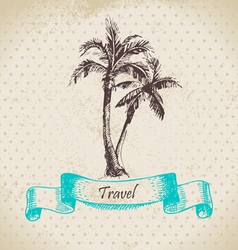 Hand drawn vintage background with palms vector