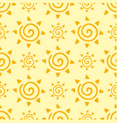 Hand drawn yellow sun planet seamless pattern vector