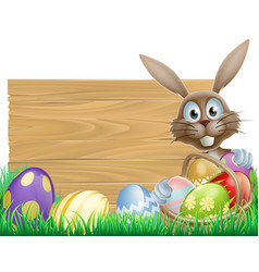 Happy easter bunny and wooden sign vector