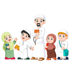 happy moslem kid showing with holding holy quran vector image
