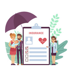 Health insurance doctor and young parents vector