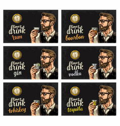 hipster holding a glasses alcohol drinks and vector image