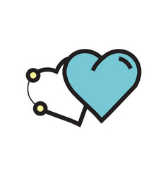 Icon two heart pen tool style blue vector
