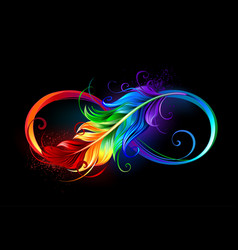 Infinity with rainbow feather on black background vector
