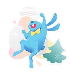 jumping bunny and christmas tree vector image