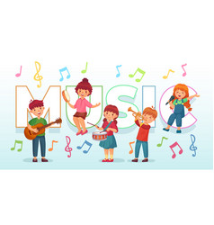 kids playing music children musical instruments vector image