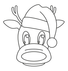 line art black and white reindeer head in hat vector image