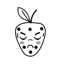 Line kawaii cute angry strawberry fruit vector