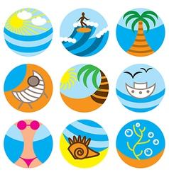 logo icons beach vector image