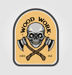 lumberjack axe skull emblem vector image