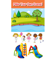 make your own scene with kids and playground vector image