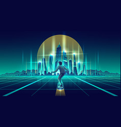 man skateboarding in future metropolis vector image