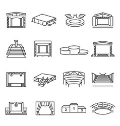 Monochrome collection podium and stage icon vector
