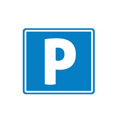 parking road sign icon flat cartoon square vector image